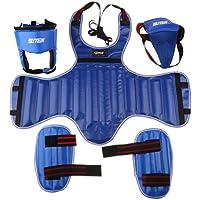 FLAMEER Cuero De LA PU MMA Boxeo Protector Set Pierna Chest Guard Helmet Groin Guard - Azul