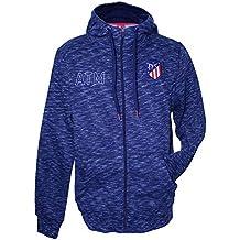 Atlético de Madrid Hoodie Azul Marino Melange - Cremallera - Nuevo Escudo