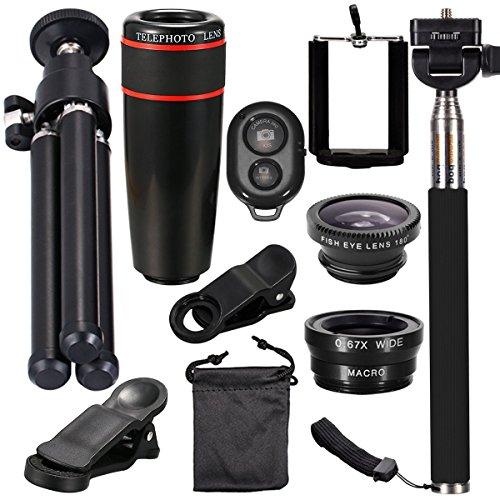 10-in-1-Kameraobjektiv-Kit, 8X Teleobjektiv + Fischaugenobjektiv + Weitwinkel + Makroobjektiv Selfie-Stick Einbeinstativ + Bluetooth-Fernbedienung Für iPhone Android und andere Mobiltelefone