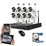 #8: Roborix Wireless WIFI Ip Nvr Cctv Security Camera Kit - 8 Channel Nvr (1 TB Hardisk Included) 8 Camera- 720P Hd Infrared Bullet Cameras Day/Night Vision - Weather Proof - Indoor/Outdoor For Home, Office, Business, Store , Etc Security…