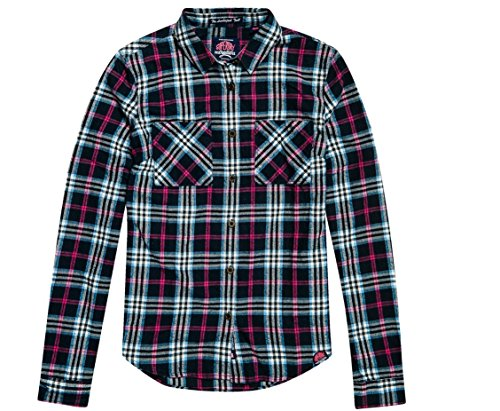 Superdry, Camicia Donna Blu (Navy White Pink Check)