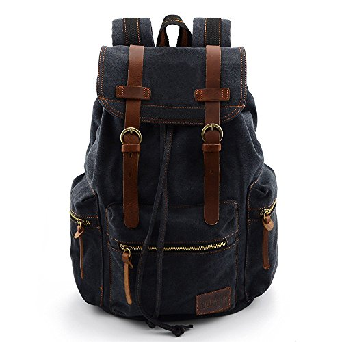 BLUBOON Tela Zaini Vintage Zaino Uomo Donna Unisex Canvas Backpack Rucksack (Nero)