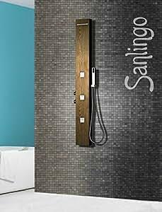 acier inoxydable colonne de douche jets de massage bois. Black Bedroom Furniture Sets. Home Design Ideas
