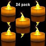 Homemory Flameless LED Tea Lights Velas, 24 Pcs Pequeñas velas parpadeantes brillantes con batería para fiestas, Festivales, Bodas, Halloween, Decoración de Navidad (Amarillo Ámbar)