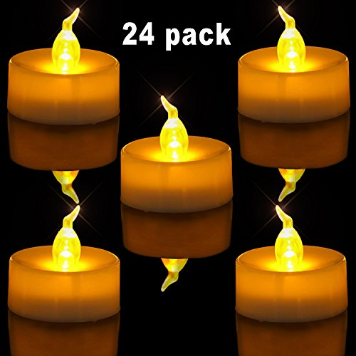 menlose Teelichter, 3.6cm Elektrische Flackernde Batteriebetriebene Kerzen, LED Votivkerzen Romantisches Gelb Teelicht (Batteriebetriebene Teelichter)