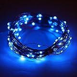 Fairy Light mit 100 LEDs, wasserdichte Kupferdraht Sternenlichterketten durch Batterie betrieben für Indoor Schlafzimmer & Terrasse Garten Hausgarten Hochzeit (33ft / 10M, blau)