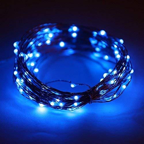 LEDs, wasserdichte Kupferdraht Sternenlichterketten durch Batterie betrieben für Indoor Schlafzimmer & Terrasse Garten Hausgarten Hochzeit (33ft / 10M, blau) ()
