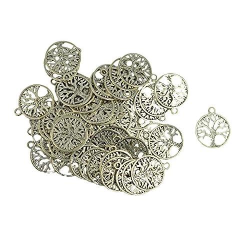 Generic Baum des Lebens Muster Charms Anhänger, Schmuck Basteln, DIY Schmuck Handwerk - Silber (Muster Draht)