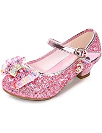 Lazzon Niños Princesa Zapatos de Tacón Bailarina Zapatos de Baile con Lentejuelas Cosplay Fiesta Carnaval Navidad