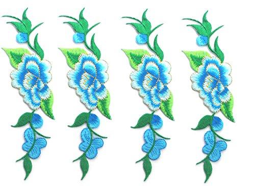 4 Stück Bestickte Aufnäher Blumen Patches Nähen Eisen auf Patch Sticker Applique Badge für Kleid, Hut, Schuhe, Jeans