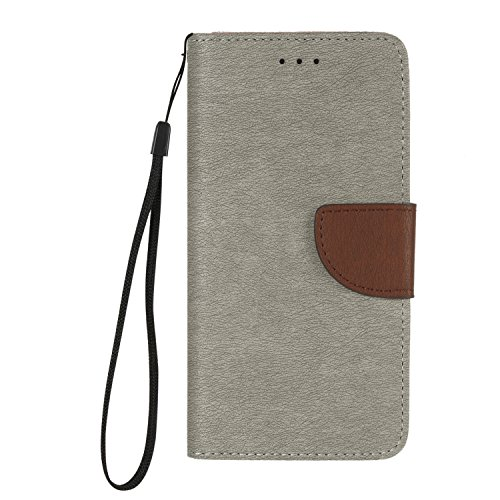 Price comparison product image Lonchee iPhone 7 Plus (5,5 zoll) Case Cover, Hit color design PU Leather Wallet Stand Flip Case Cover Detachable Hand Strap for iPhone 7 Plus (5,5 zoll) - Gray / brown