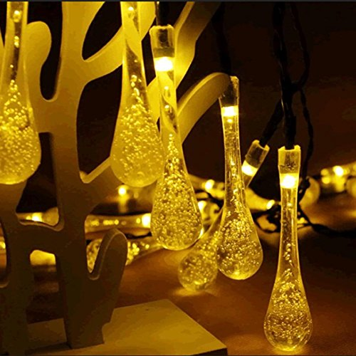 DOLDOA LED Licht,1.5M 10er LED Batterie Lichterkette Wassertropfen Garten Außen Beleuchtung für Party, Weihnachten, Outdoor, Fest Deko (1.5M 10er LED Batterie Lichterkette, Gelb - 1) Wie Man Einen Ruhigen Buch