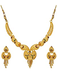 Mansiyaorange Traditional Party Wedding Wear One Gram Gold Original Work Premium Golden Necklace Jewellery Sets for Women(Wax Forming)