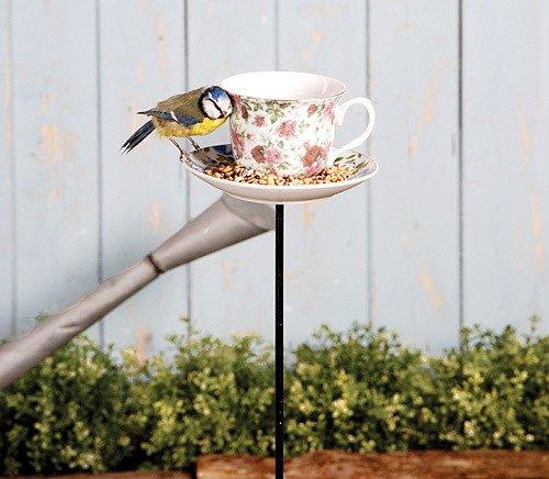 """Gartenstab """"Futtertasse auf Stab"""" Vogelfuttertasse 83cm A - 2"""