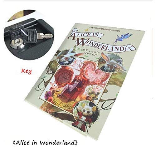 Z-Brand Buchtresor Buchsafe Mit Zahlenschloss Tragbaren Safe Mit 2 Schlüsseln,Getarnt Als Roman Mit Echten Papierseiten Geld Sparen Bank Box,AliceInWonderland-Key (Rv Storage Box)