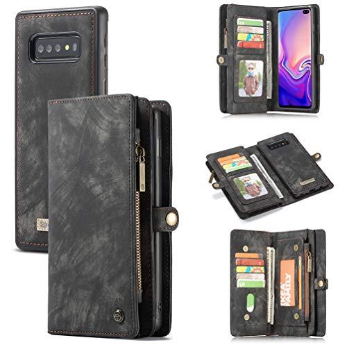 ToneSun Handyhülle für Samsung Galaxy S10 Hülle, 2 in 1 Abnehmbare Lederhülle Wallet Handyhülle Flipcase: Geschäft Multifunktionale Ledertasche Cover Brieftasche Schutzhülle in Schwarz