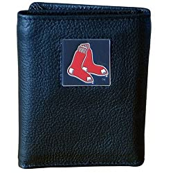 MLB Boston Red Sox Genuine Leather Tri-fold Wallet