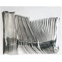Invero®–Set di 48posate usa e getta riutilizzabili argento metallizzato finitura mista, include 16forchette, 16coltelli, 16cucchiai Desert, ideale per barbecue, picnic, feste, buffet e altro
