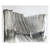 Invero-Set di 48posate usa e getta riutilizzabili argento metallizzato finitura mista, include 16forchette, 16coltelli, 16cucchiai Desert, ideale per barbecue, picnic, feste, buffet e altro