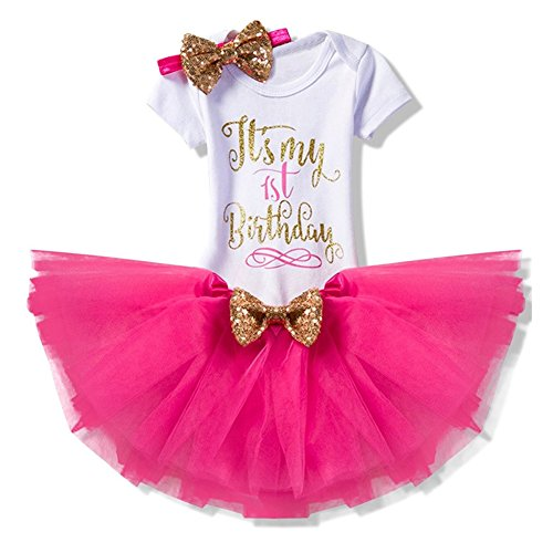 8f034e2a2e7f73 Baby Mädchen Kleid Festlich 3PCs Erster Geburtstag Onesie Tutu-Kleid  Stirnband Rose Rot 6
