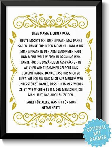 DANKE FÜR ALLES - Bild Danksagung für Eltern – Rahmen optional – Geschenk Geschenkidee Geburtstag Hochzeitstag
