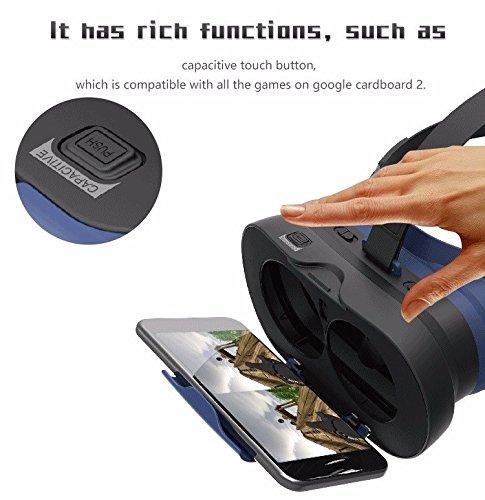VR-PRIMUS GO - Schwarz - Virtual Reality VR-Brille - Mit Knopf zum Steuern des Smartphones, Kopfgurt und Transportbox - für Android und iOS Smartphones wie iPhone, Samsung, HTC, Sony, LG, Huawei, Motorola, ZTE und weitere - Kompatibel mit Google Cardboard Apps - 3D Videobrille