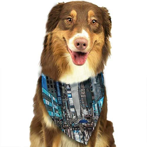Pet Dog Scarf New York Street Shopping Washable Dog Puppy Triangle Bandana Bib Babys Neckerchief Accessories -