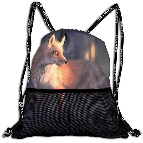 Voxpkrs Popular Drawstring Gym Backpack Cute Little Fox Gym Bags Sackpack Knapsack for Unisex Women/Men/Girls/Boys/Kids