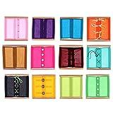 Backbayia 12 Typen Montessori Bowknot/Reißverschluss/Knopf Kleidung Box Lebenskompetenzen Lernspielzeug für Kinder