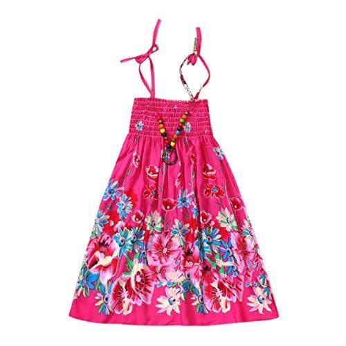 Mädchen böhmische Kleider Floral ärmellose Rainbow Beach Sommerkleid mit Halskette