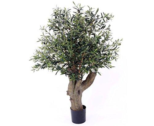 Olivenbaum mit dickem Stamm, Kunstbaum, 3468 Blätter, Höhe ca. 110cm mit Topf, UV geschützt