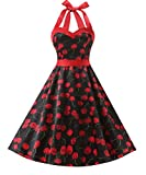 Dresstells Neckholder Rockabilly 1950er Polka Dots Punkte Vintage Retro Cocktailkleid Petticoat Faltenrock Cherry Black XL