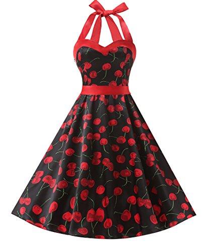 DRESSTELLS, Version3.0 Vintage 1950's Audrey Hepburn pin-up Robe de soirée Cocktail, Style Halter années 50 à Pois, Noir-Cerise L