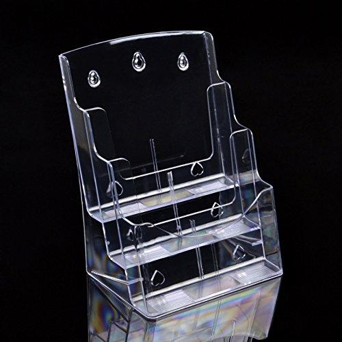 Preisvergleich Produktbild Deye Trading-stöckige Literatur Display Halterung für Wand oder Desktop 3Etagen A4Hochformat/Drei Schichten von transparentem Acryl Material Magazin Rack