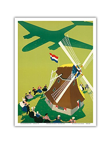 Pacifica Island Art Holland-Royal Dutch Airlines KLM-Windmühle-Vintage Airline Travel Poster von Paul Brillens c.1945-Master Kunstdruck 9