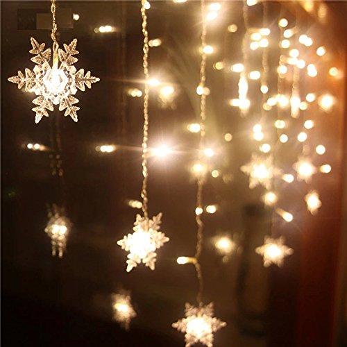 hneeflocke Vorhang Lichter, Weihnachtsbaum Vorhang Lichter, 8 Modi, Linkable Design, LED Icicle Lichter für Weihnachten / Hochzeit / Party / Neujahr Dekorationen (Weihnachten Schneeflocke)