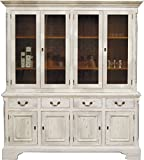 Casa Padrino Vintage Buffetschrank Antik Stil Weiss/Holzfarben H 219 x B 189 cm - Vitrine Regal Schrank Shabby Chic