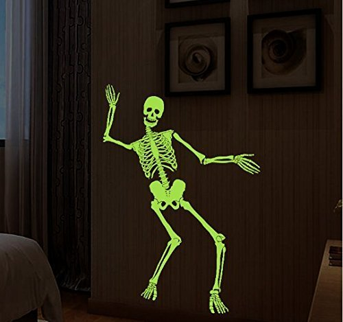 anzen Schädel Skeleton Halloween Lustige Party Nacht Licht Glanz Zimmer Möbel Dekoration Home Decals Wandaufkleber (Halloween Scary Skeletons)