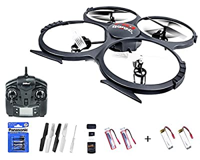 Efaso Quadcopter - UDI U818 A 2.4GHz 4 Channel RC Quadcopter With HD 2 MP Camera, Protection Ring, LED Light and Flip Function Including 2 x Battery + Power Batteries Pack of 2 Batteries Ready to Fly