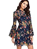 ROMWE Damen Elegant Sommerkleider mit Blumen Druck Muster A-Linie Urlaub Party Kleider Blau M