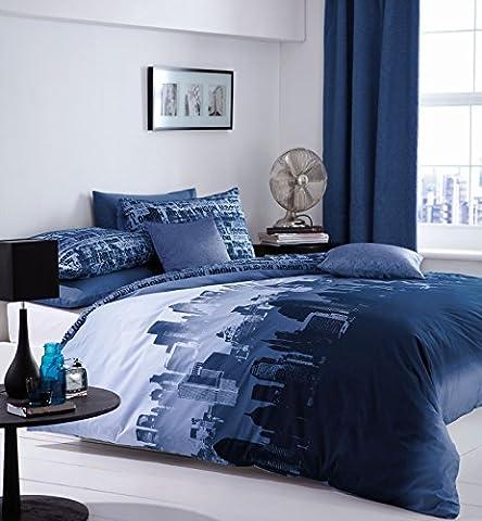Catherine Lansfield CityScape Double Duvet Set - Blue
