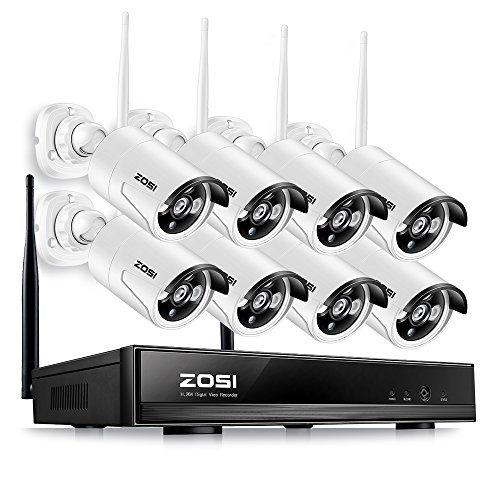 ZOSI 8CH 960P HD NVR Tag Nacht Funk Überwachungskamera Set ohne Festplatte CCTV Wireless Outdoor IP Netzwerk Video Überwachungsstem, 3.6mm Linse, Handy-View