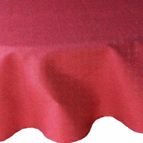 Premium Leinen Optik Tischdecke Rund 140 cm Dunkelrot / Rot mit Lotus Effekt Tischwäsche mit Fleckschutz von DecoHometextil - Dunkelrot TD Rund 140