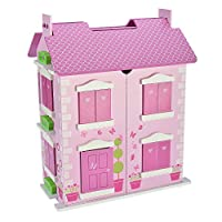 Guaranteed4Less Wooden Dolls House Play Set Deluxe Large FREE 10 Piece Matching Dolls Furniture