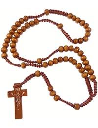 R Heaven - Madera luz madera marrón cable largo rosario de cuentas de collar 61cm
