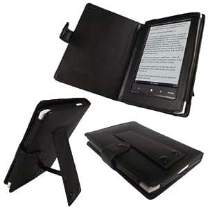 igadgitz Leder Tasche Etui Schutzhülle Case Hülle echtes Napa Leder seitlich in Schwarz für Sony Portable Digital Book eReader Serie Sony PRS350 PRS 350