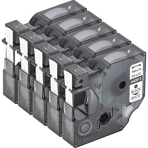 multipack-5-cassette-de-ruban-a-etiqueter-avec-dymo-d1-40913-en-noir-sur-blanc-9mm-x-7m-pour-labelma