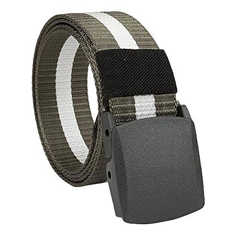 Faleto Herren Damen Military Tactical Gürtel Anti-Allergie Nylon Gürtel mit automatische Kunststoff Schnalle Jeansgürtel Belts 130cm + Original Geschenkbox (Weiß-Grün Streifen)