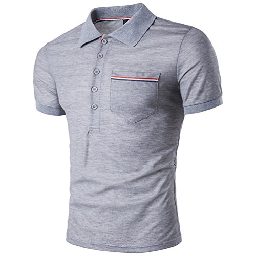 CHENGYANG Sommer Stylische Poloshirt zum Herren Streifen Stitching Revers Kurzarm T-shirt Licht Grau
