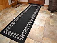 Black Greek Key Non Slip Machine Washable Rug. Available in 7 Sizes by Rugs Supermarket
